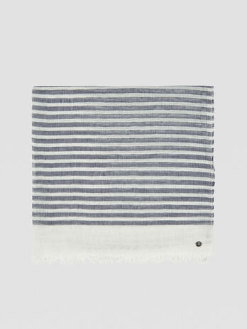 Striped linen and cotton pashmina