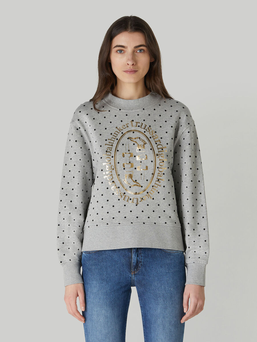 Boxy cotton sweatshirt with foiled print