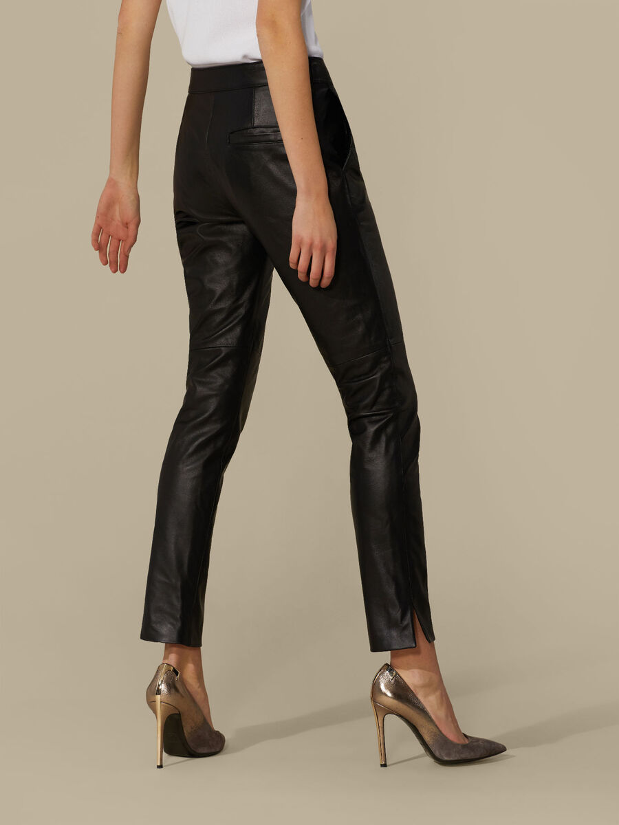 Regular-fit leather trousers