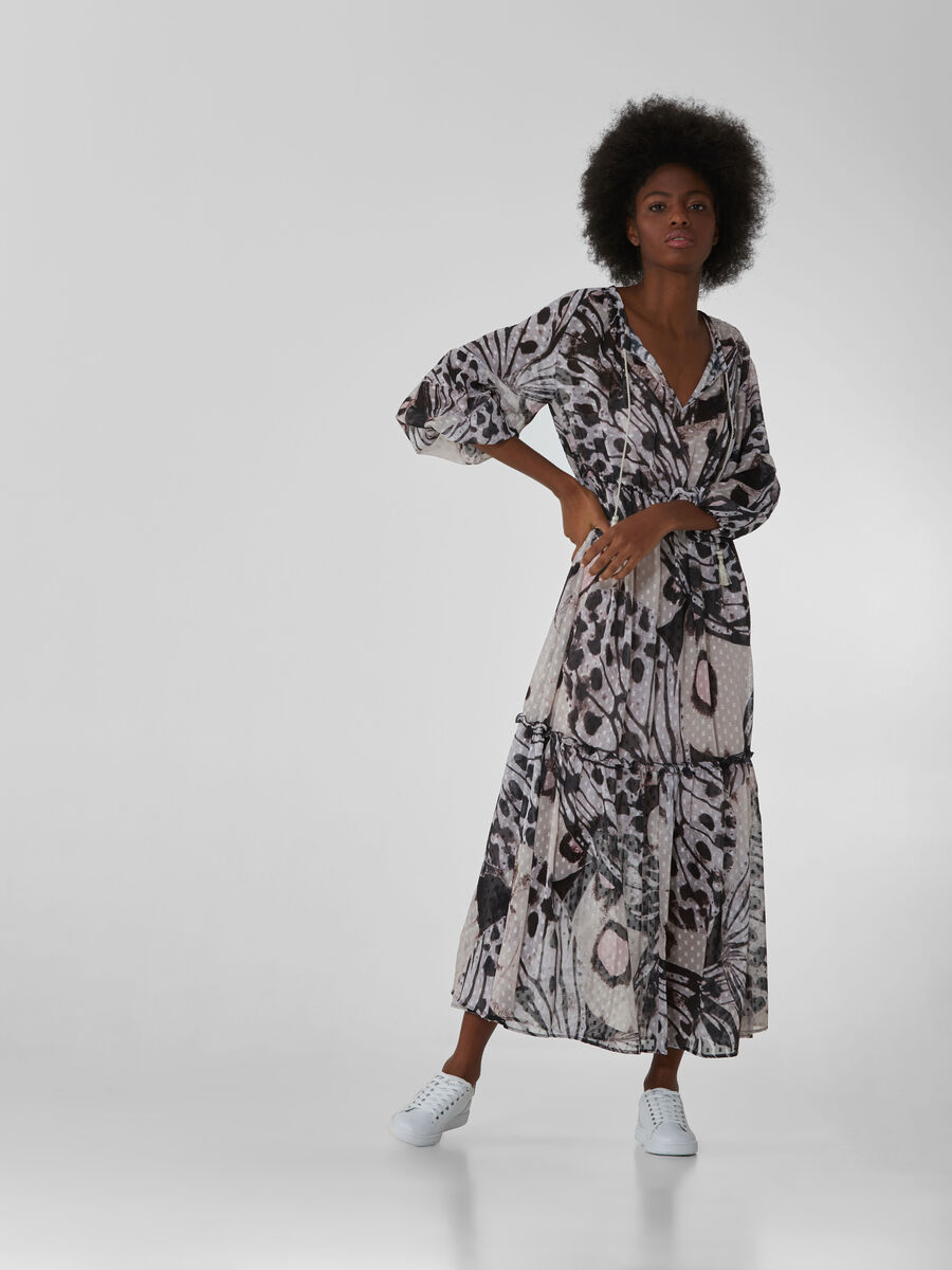 Long dress in printed fil coupe