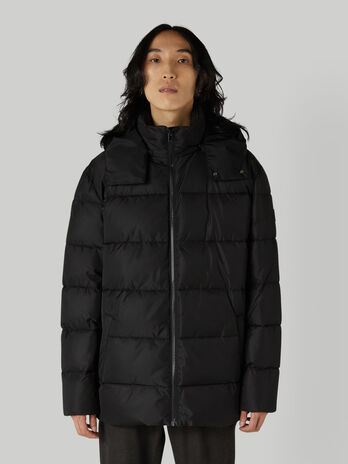 Quilted nylon down jacket with hood