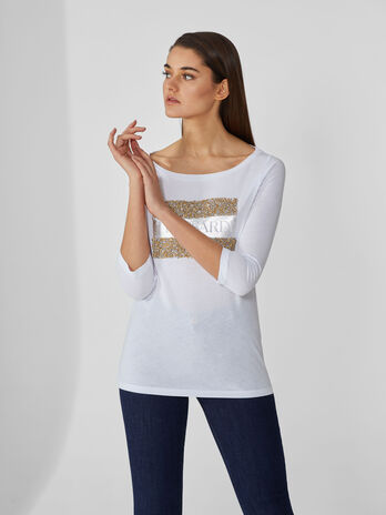 Regular-fit cotton top with beading