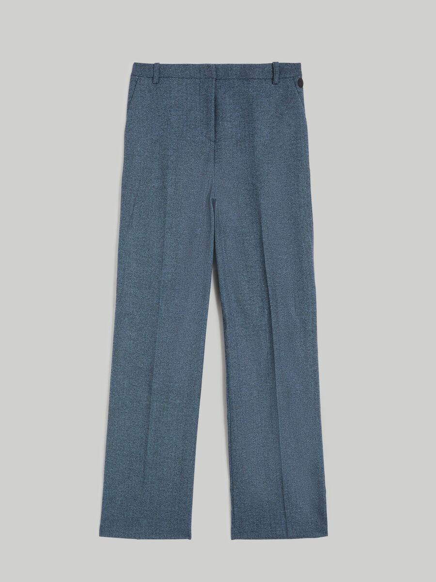 Herringbone wool-blend trousers