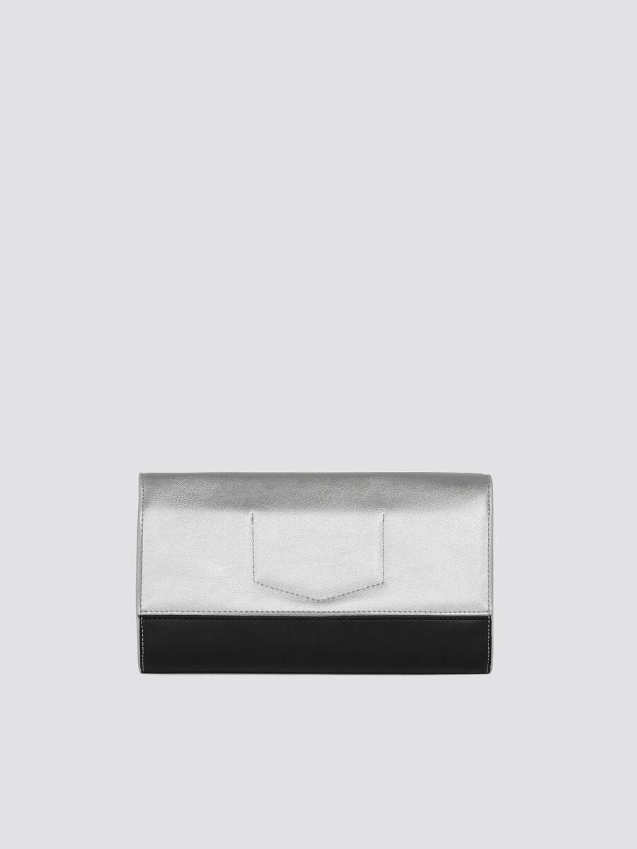 T-Easy city mini clutch two tone metallic faux leather