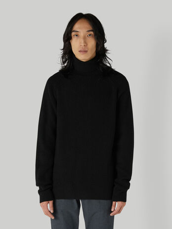 Regular-fit ribbed polo-neck pullover