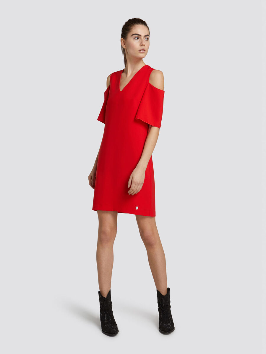Mini robe coupe classique encolure en V tissu technique