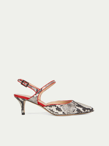 30444829bd Decollete slingback in pelle con stampa snake e tacco