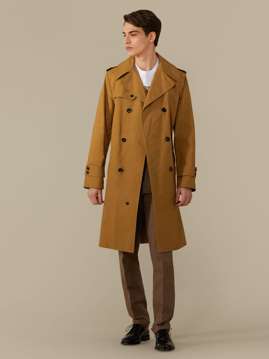 Belted trench coat in cotton gabardine