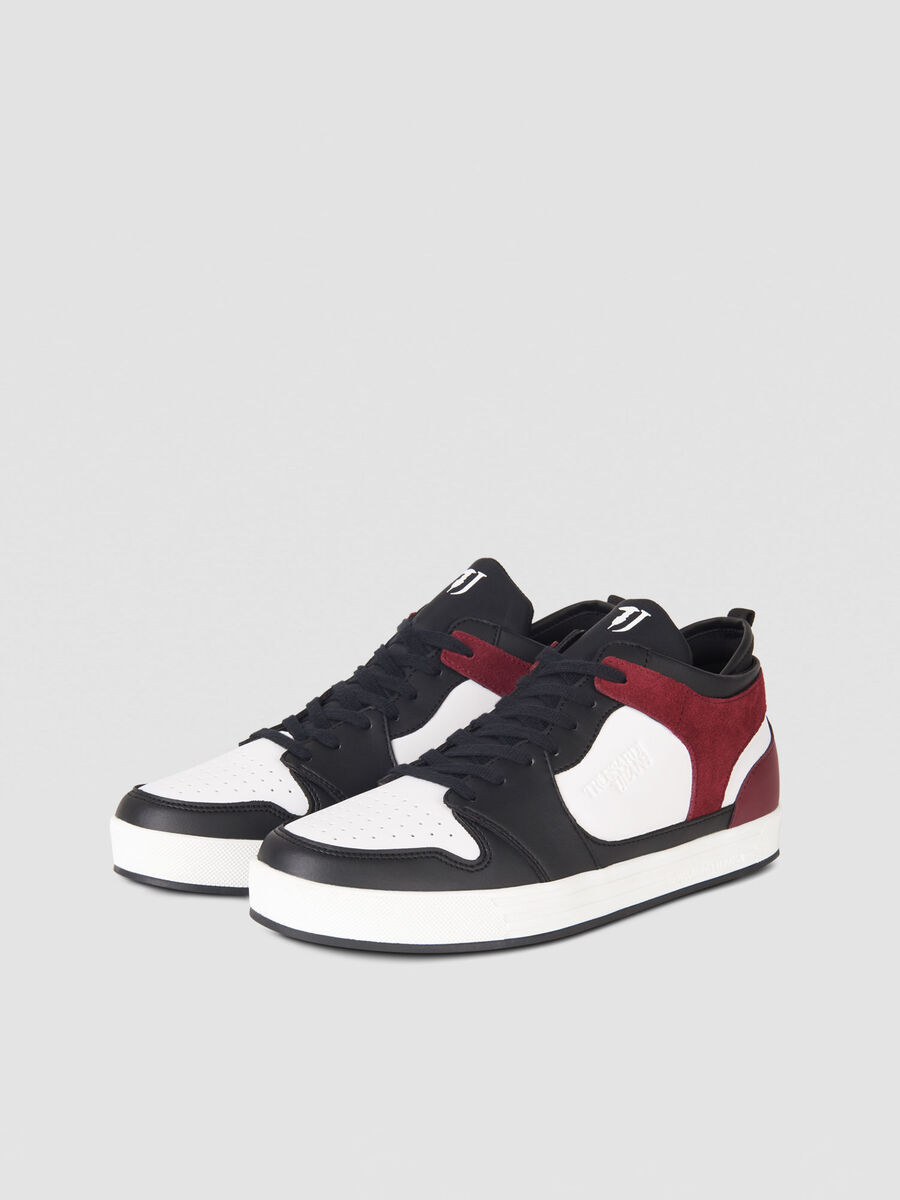 Faux leather and suede sneakers with embossed logo