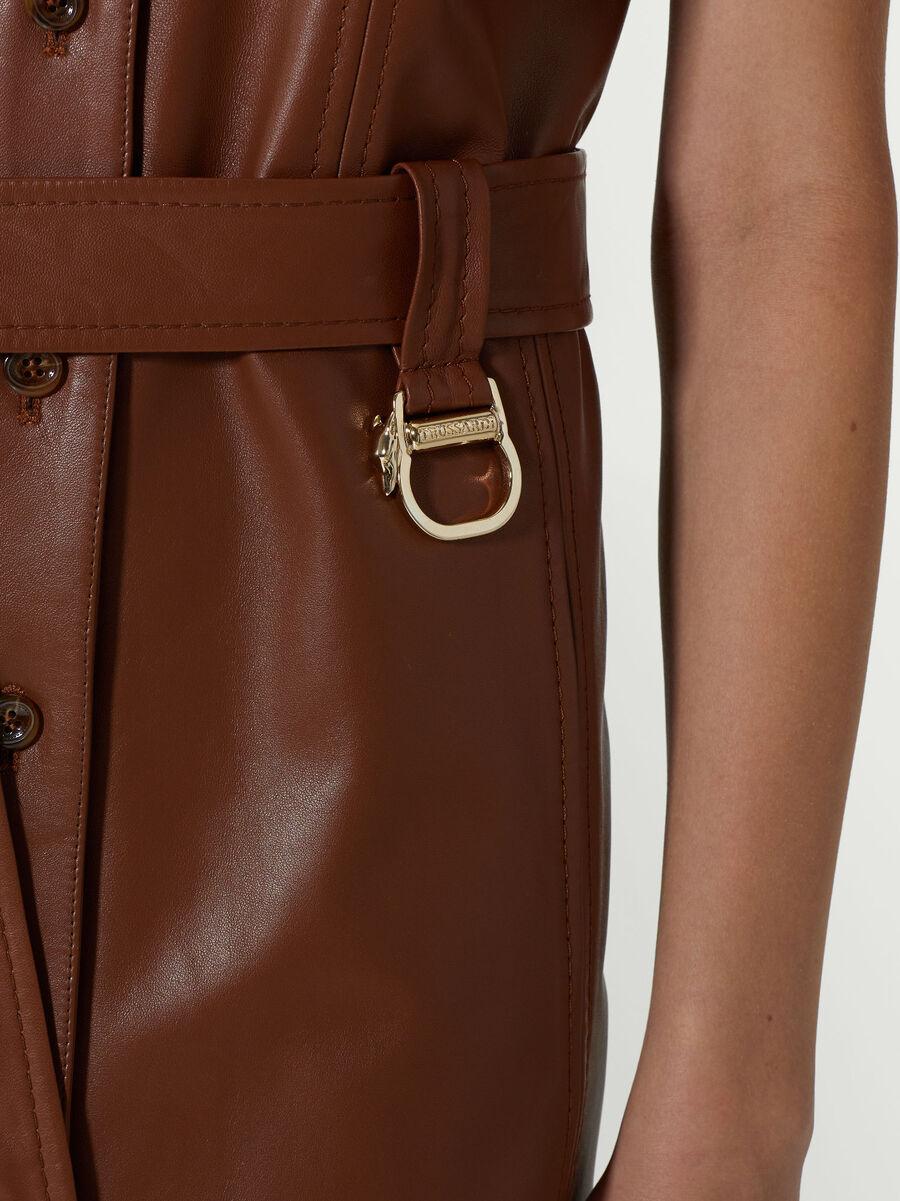 Regular fit leather shirt dress