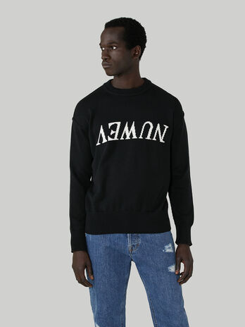 Oversized cotton pullover with inlaid lettering