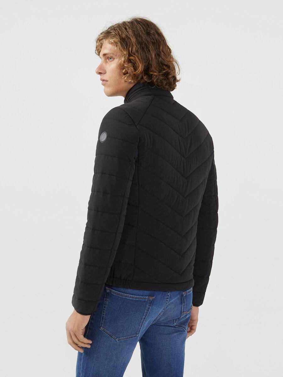 Slim fit down jacket in stretch matte nylon