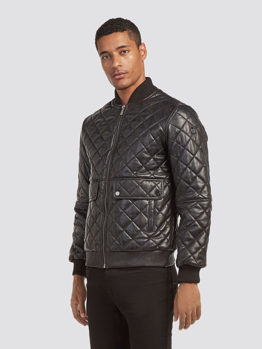 Regular fit quilted leather jacket