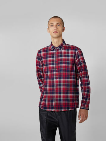 Two tone chequered denim shirt