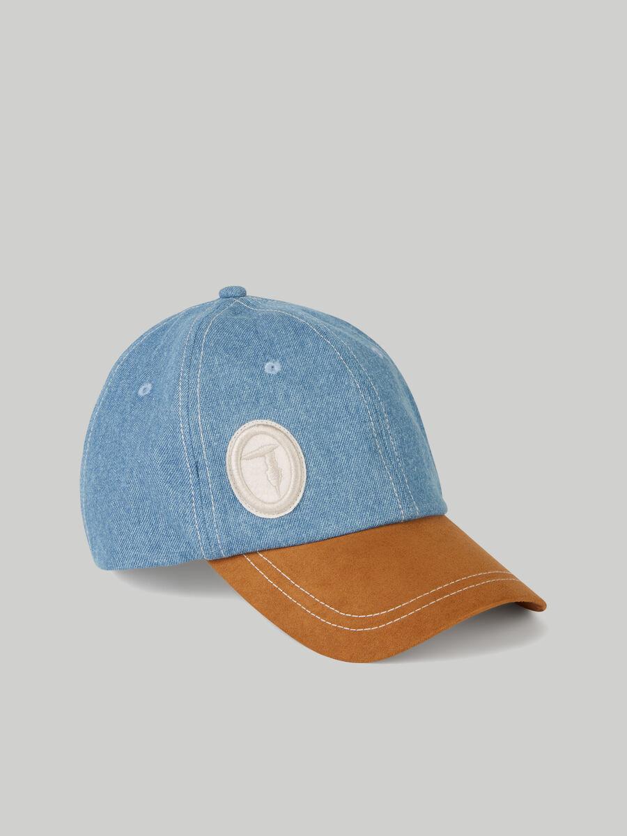 Denim and suede baseball cap