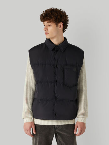 Technical nylon gilet with breast pocket