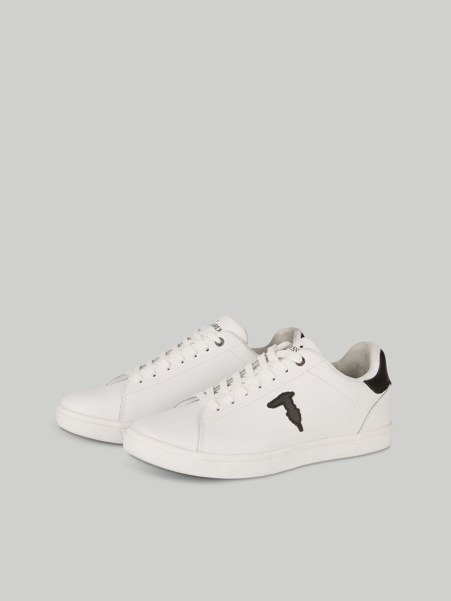 Leather sneakers with monogram patch
