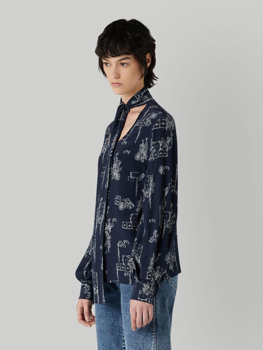 Blusa in viscosa con collo a foulard