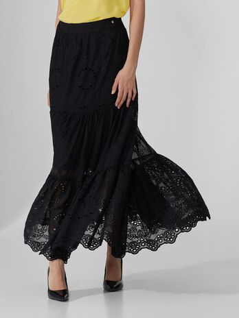 Long embroidered crepon skirt