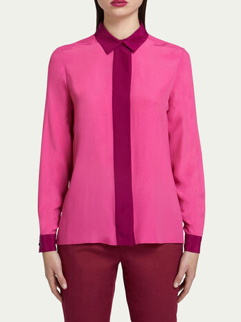 Regular fit shirt in two tone crepe