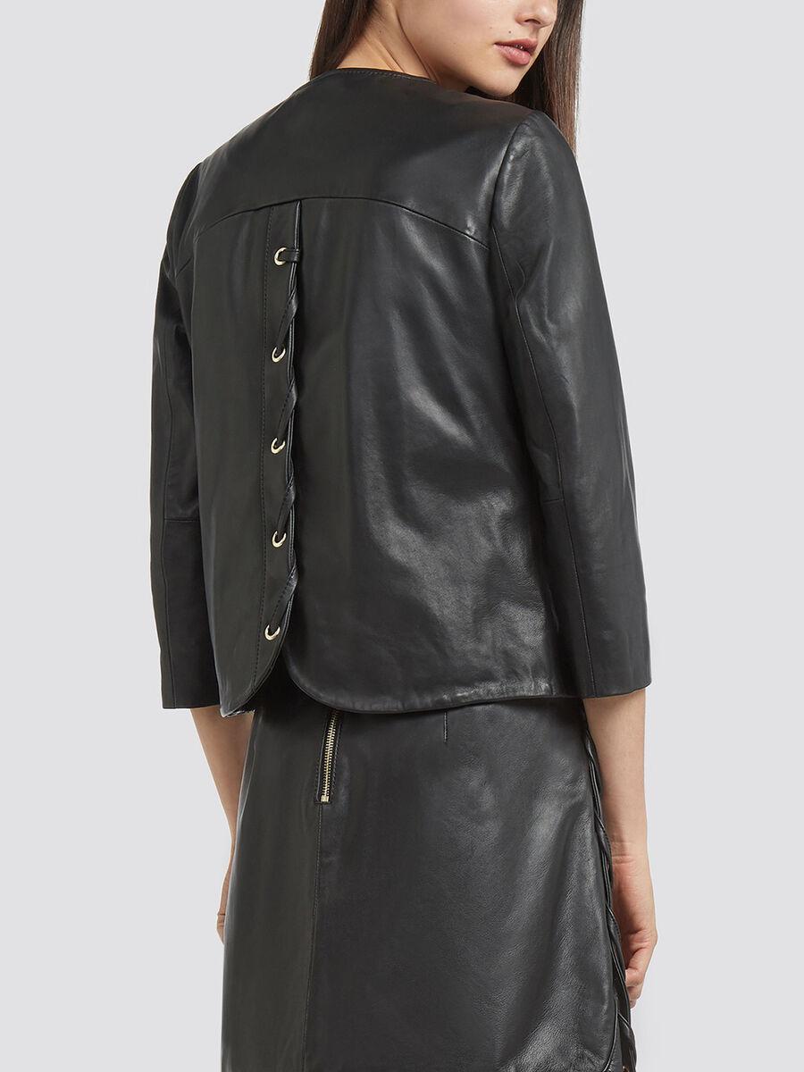 Jacke Regular Fit aus Leder mit Baendern
