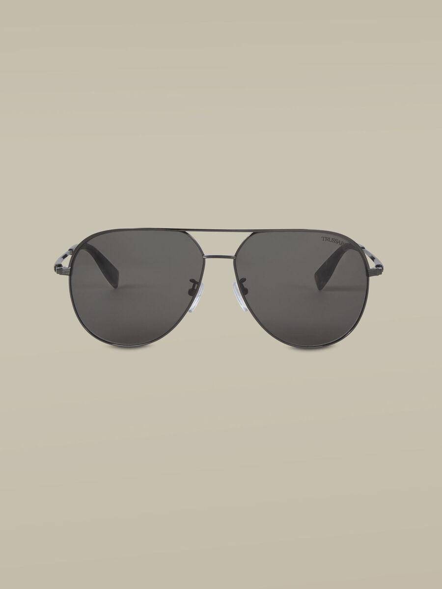 Aviator sunglasses in dark silver titanium