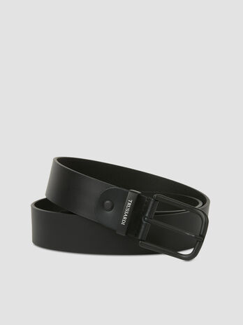 Leather belt with satin finish buckle