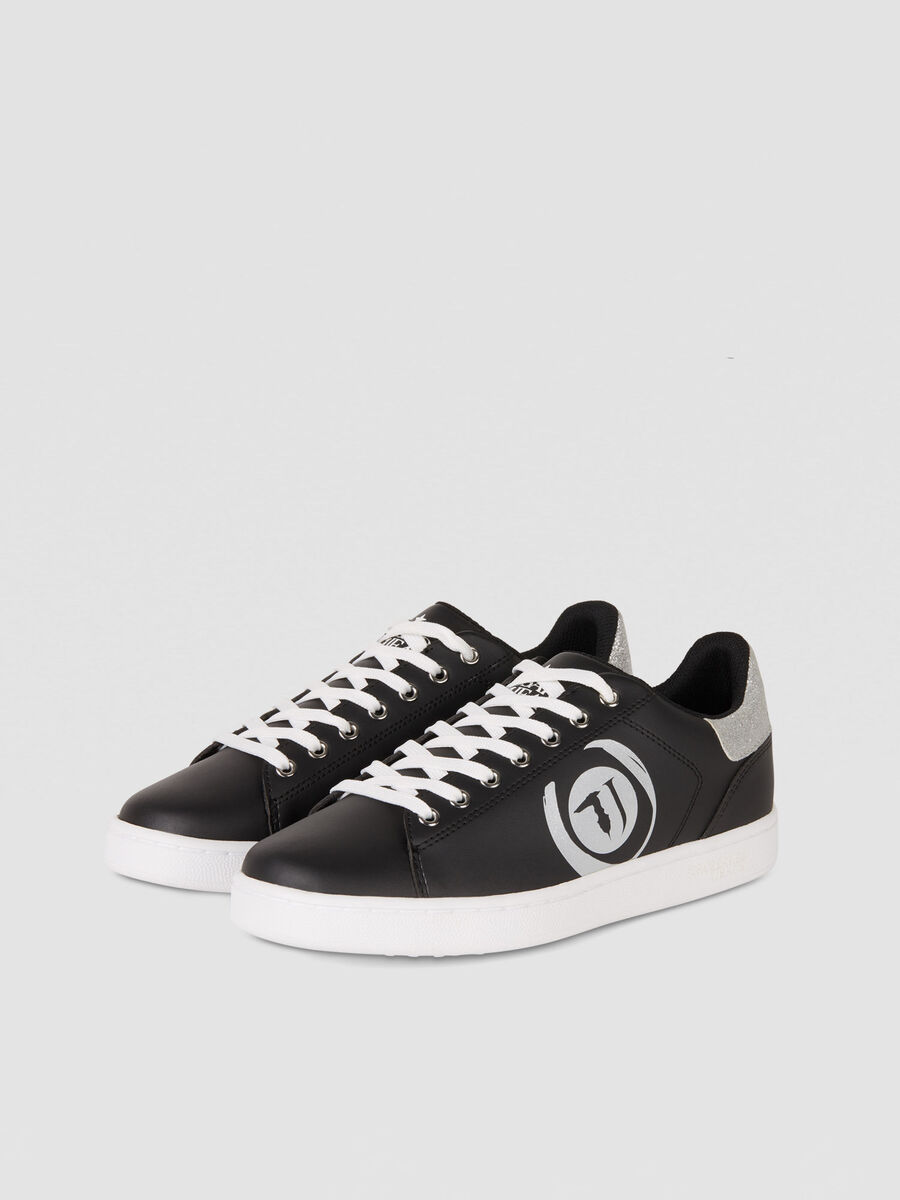 Faux leather sneakers with glittery logo