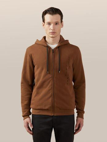 Regular fit cotton hoody with zip