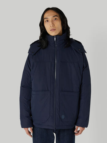 Technical fabric down jacket with hood