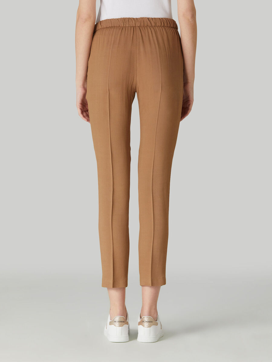 Cropped viscose trousers with drawstring