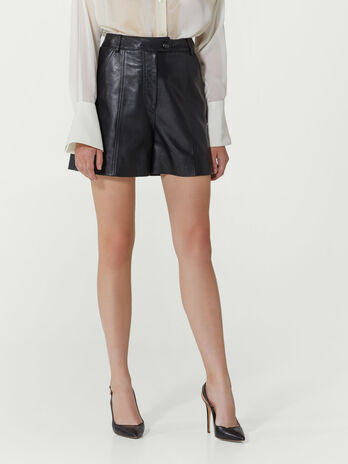 Regular fit leather shorts
