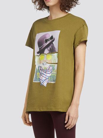 T Shirt in Melange Optik mit Logo Print