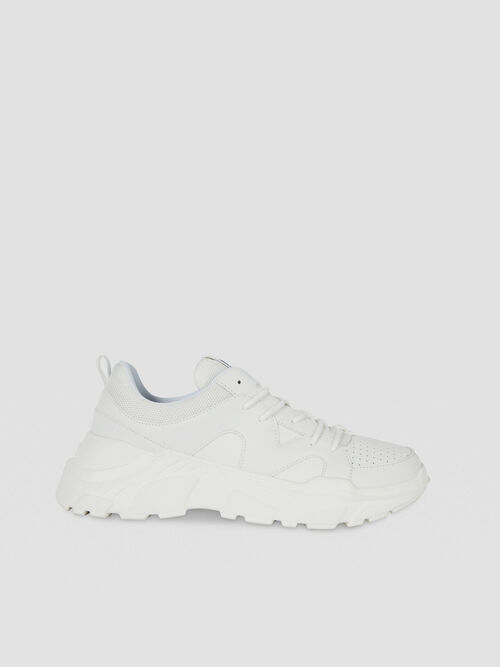 Solid-colour faux leather running sneakers