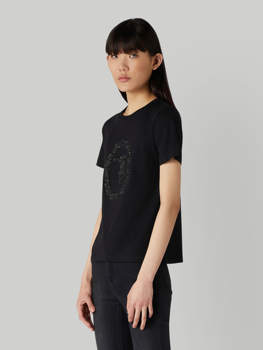 T-shirt regular fit in jersey con paillettes in tono