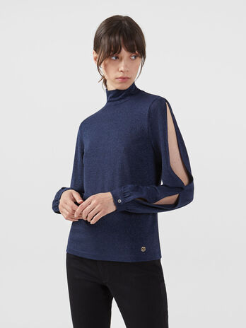 Lurex jersey polo neck blouse