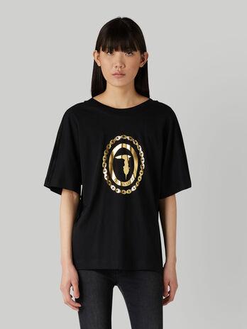 Boyfriend-fit jersey T-shirt with laminated logo