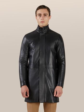 Cappotto regular fit in pelle matte
