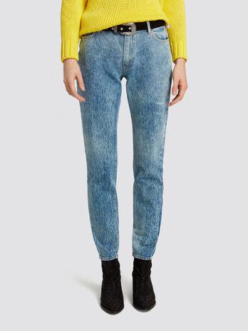 Skinny seasonal 105 jeans in distressed effect denim