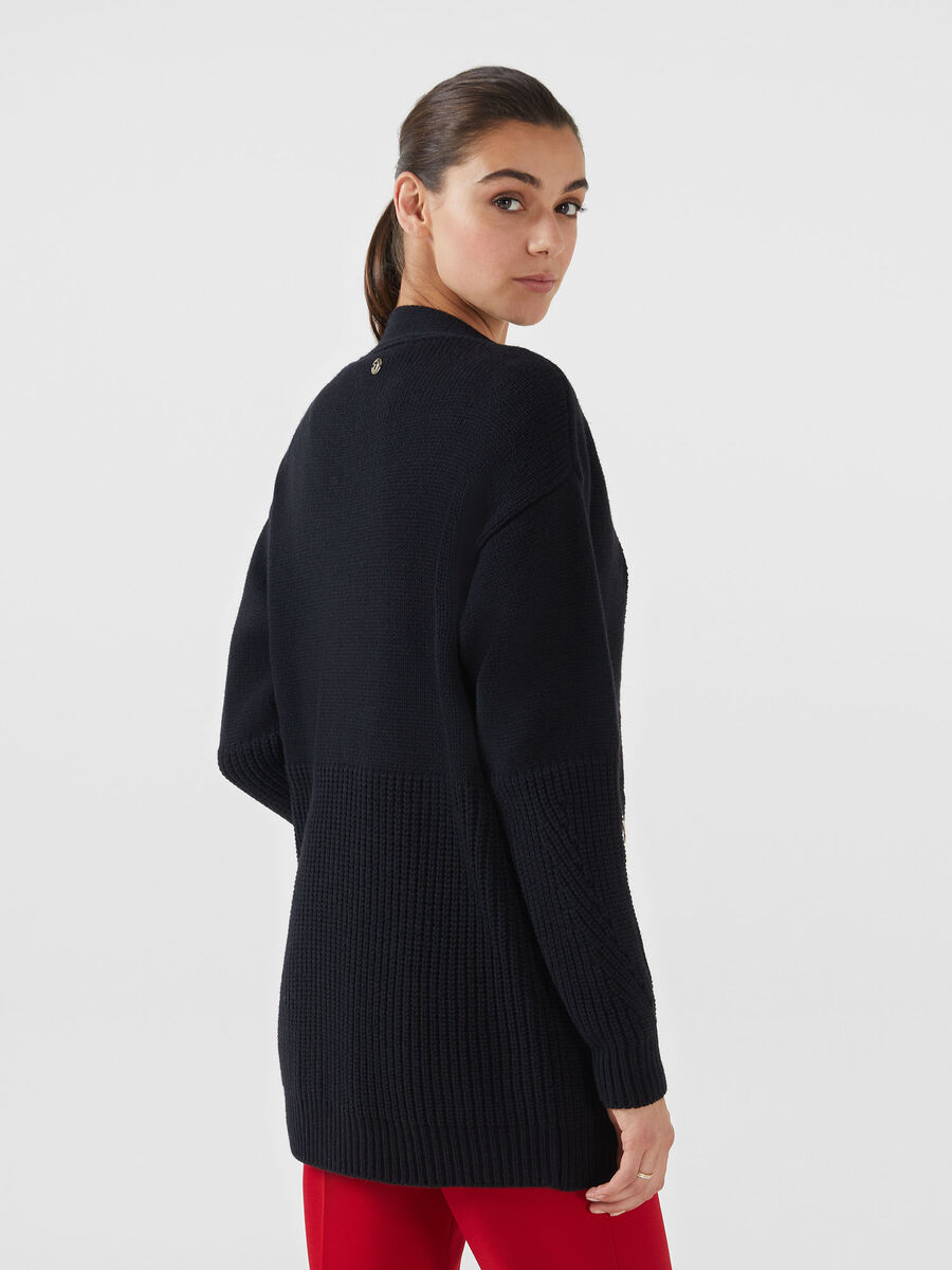 Oversized zip up wool blend cardigan