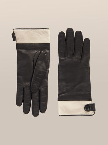 Two tone nappa leather gloves