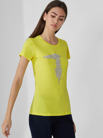 Slim-fit cotton T-shirt with rhinestones