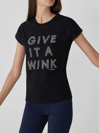 T-shirt coupe classique en coton avec strass