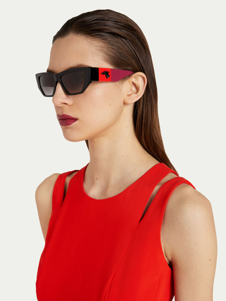 Sunglasses with multi coloured temples