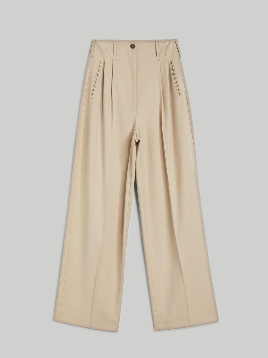 Wool-blend flannel trousers