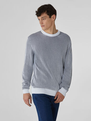 Two-tone plaited cotton crew-neck pullover