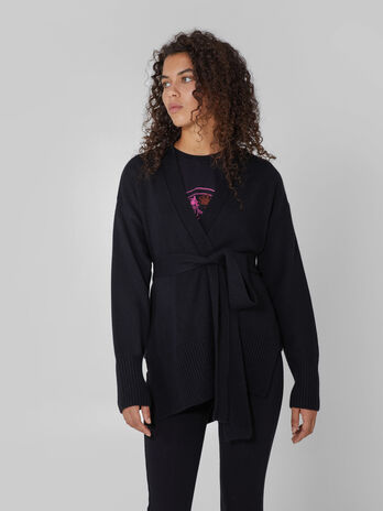 Belted wool blend cardigan