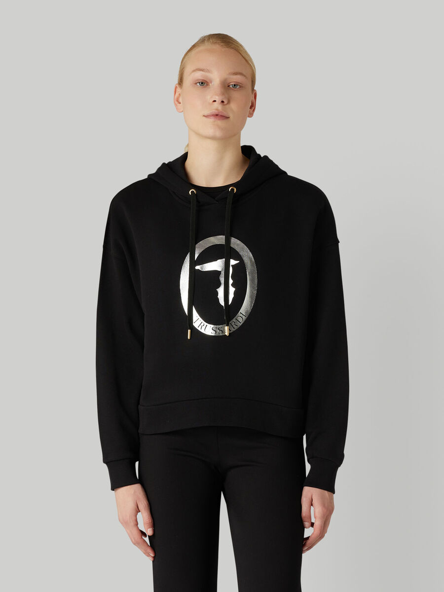Cotton hoody with laminated logo