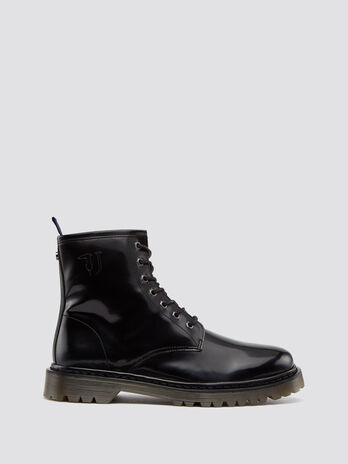 Ecoleather combat boots with logo inserts
