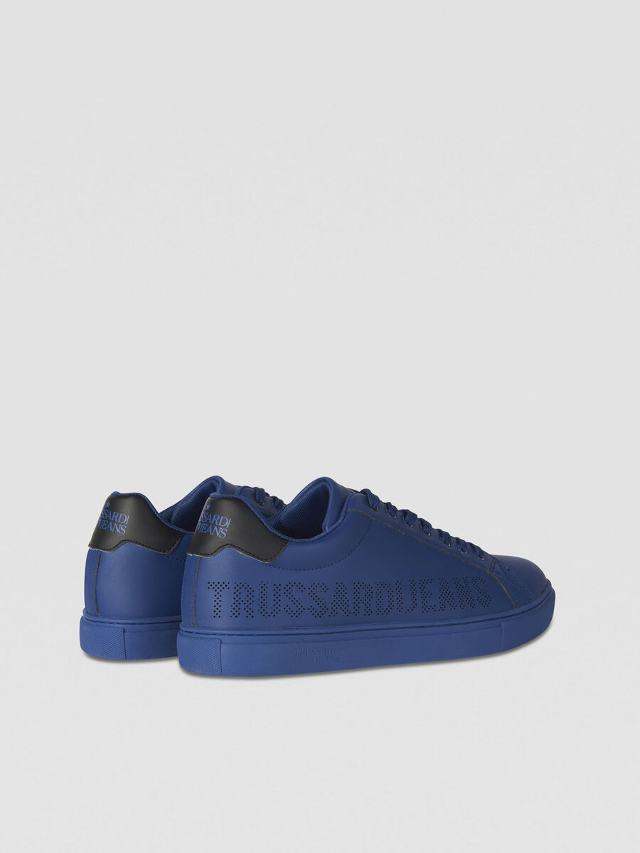 Faux leather sneakers with perforated logo